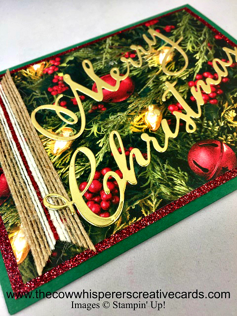 Card, Merry Christmas Dies, All is Bright Designer Series Paper, Striped Burlap Trim, Joyous Noel Glimmer Paper