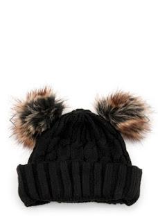 kahverengi ponpon kulaklı siyah bere