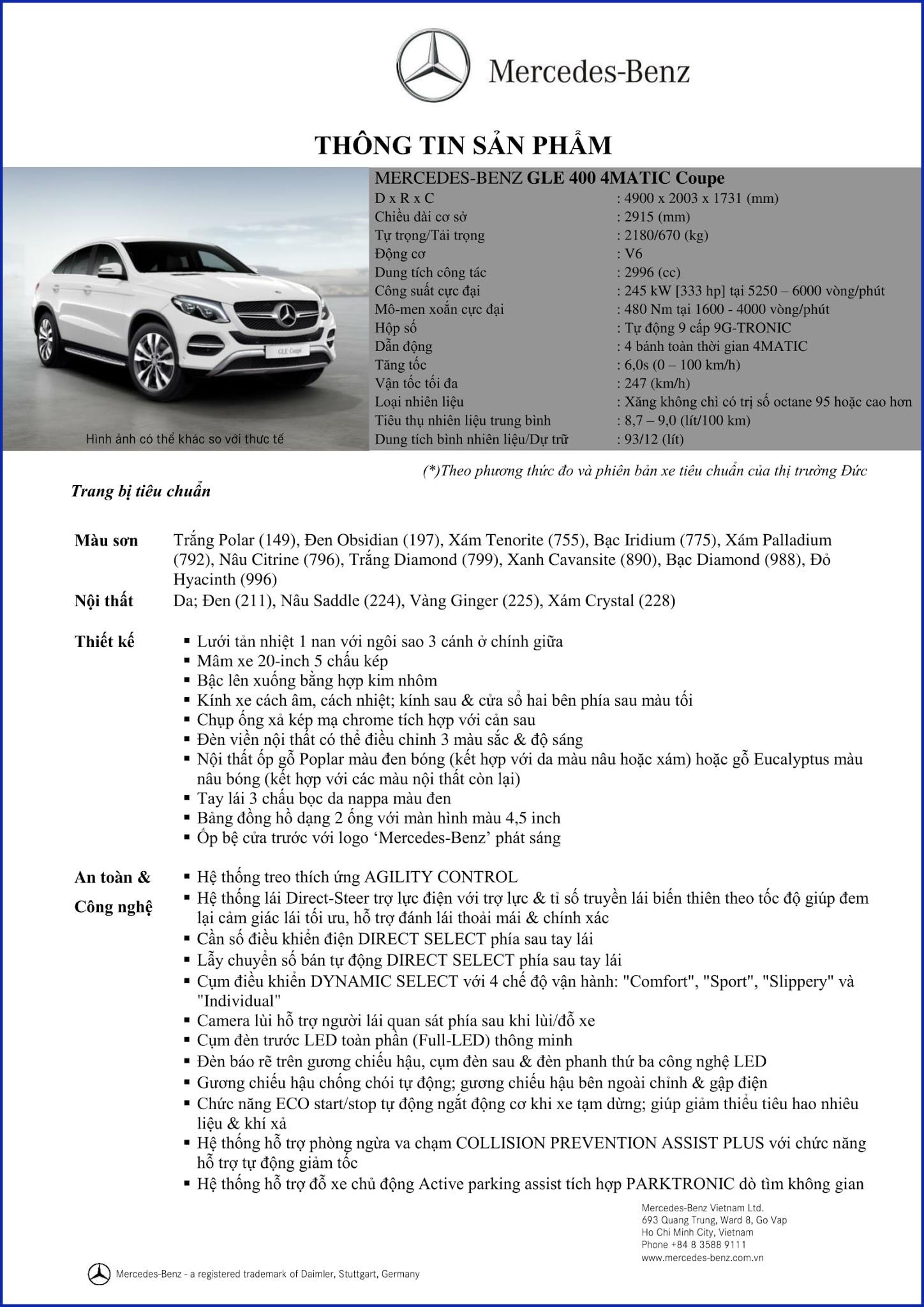 Bảng thông số kỹ thuật Mercedes GLE 400 4MATIC Coupe 2018 tại Mercedes Trường Chinh