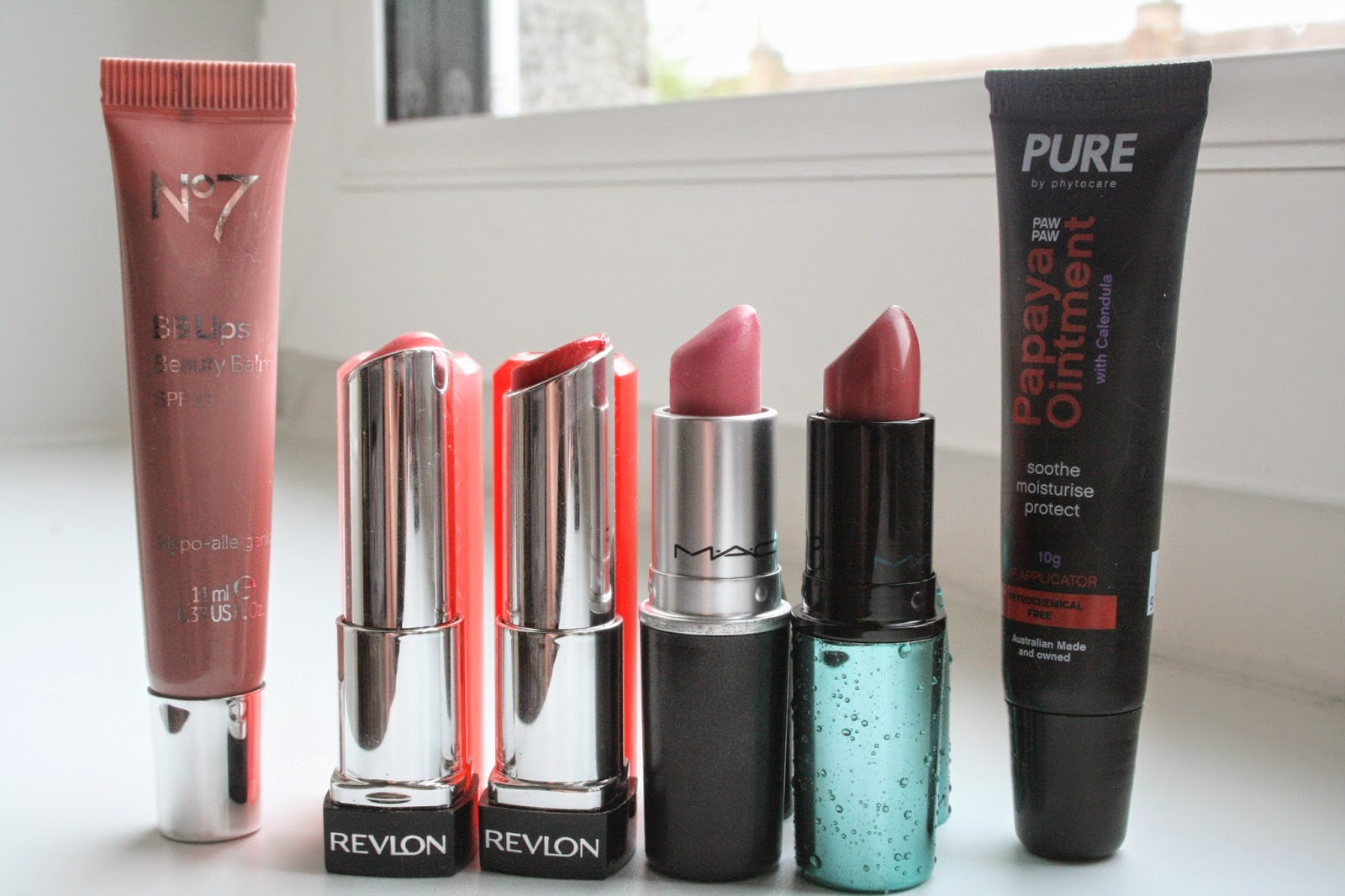 No7 BB lips in Ballerina, Revlon lip butters in Candy Apple & Pink Lemonade, MAC lovelorn, MAC mystical, Pure Papaya ointment