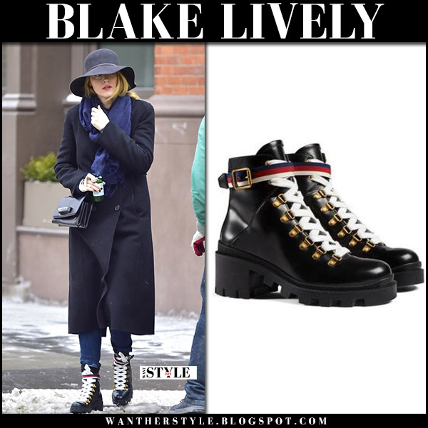 Blake Lively in navy blue long coat and black chunky winter boots gucci trip street snow fashion january 8