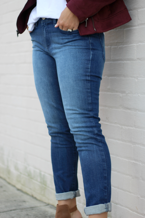 mott & bow, how to style boyfriend jeans, how to style a moto jacket, style on a budget, north carolina blogger