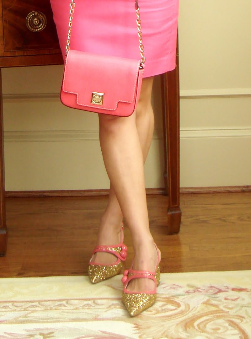 All pink outfit, lower half of body.