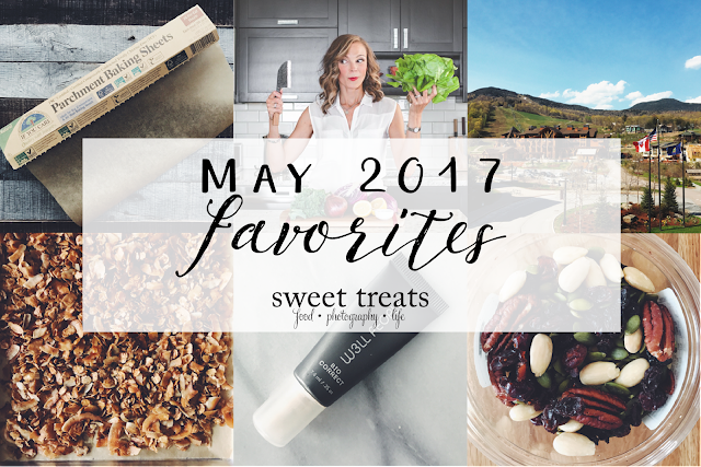 "A few favorites from May 2017 from Laura of ""Sweet Treats."" Recipe, kitchen tool, convenience product, beauty product, travel, in memory of Martine Partridge of ""Eat Heal Thrive."""