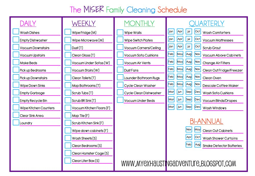 Julie 39 s exhausting adventure cleaning checklist for Domestic cleaning schedule template
