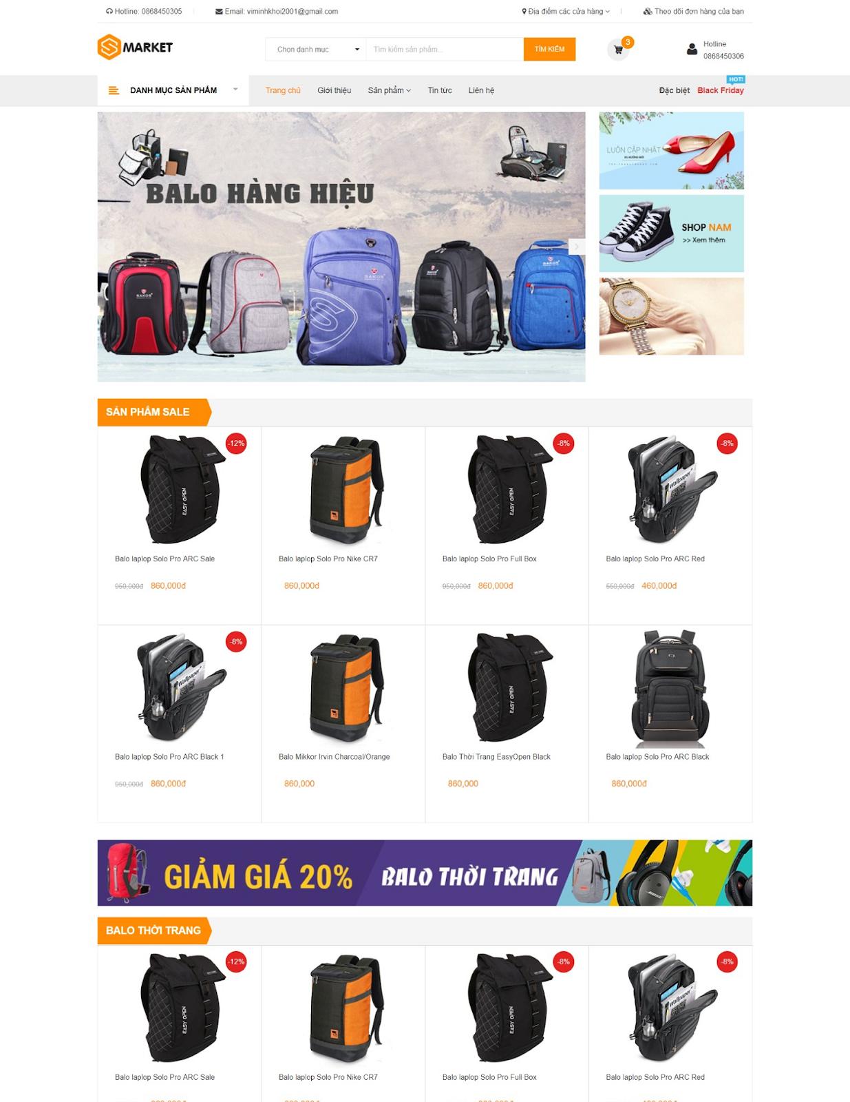 Template blogspot bán hàng Zmarket Bags - Blogspotdep.com