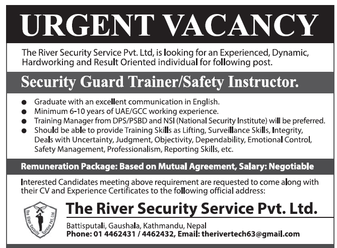 Jobs in Nepal Security Services for Nepali