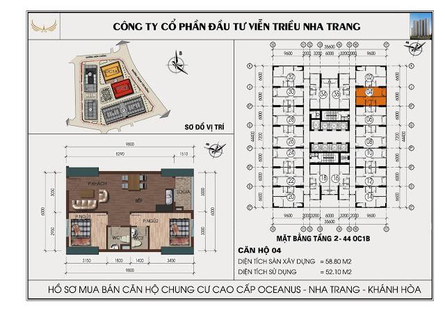 Sơ đồ căn hộ số 04 tòa OC1B Viễn Triều Nha Trang