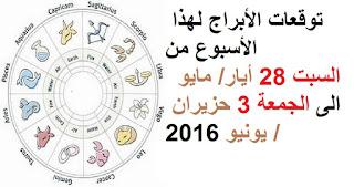 توقعات الأبراج لهذا الأسبوع من السبت 28 أيار/ مايو الى الجمعة 3 حزيران / يونيو 2016