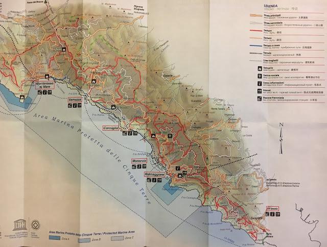 Carte détaillée des Cinque Terre en Italie