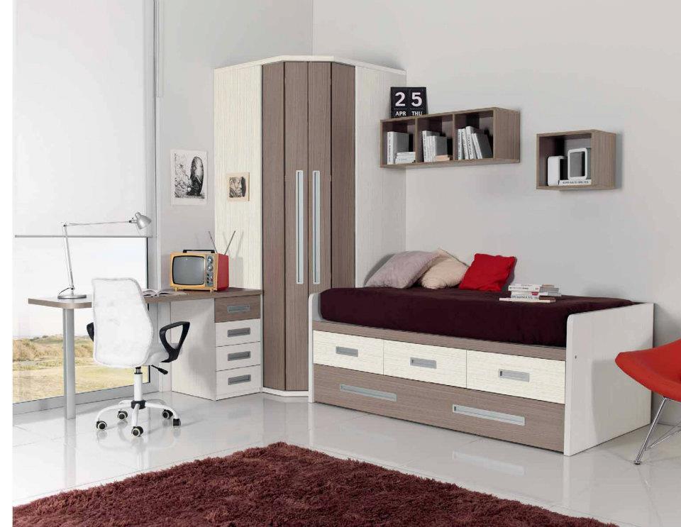 Dormitorio juvenil con cama compacto armario puertas for Muebles juveniles zona sur