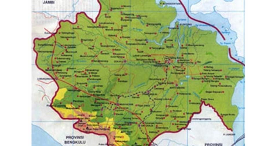 Gambar Peta Provinsi Sumatera Selatan Palembang  bloglazir