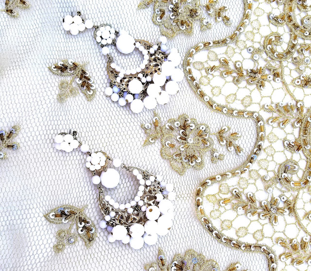 Joanna Joy A Stylish Love Story Blog petite fashion blogger lifestyle blogger Indian gold lace white beaded earrings California fashion blogger boho chic global chic global fashion