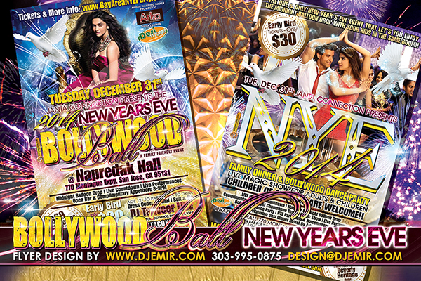 2014 Bollywood New Year's Eve Flyer Design