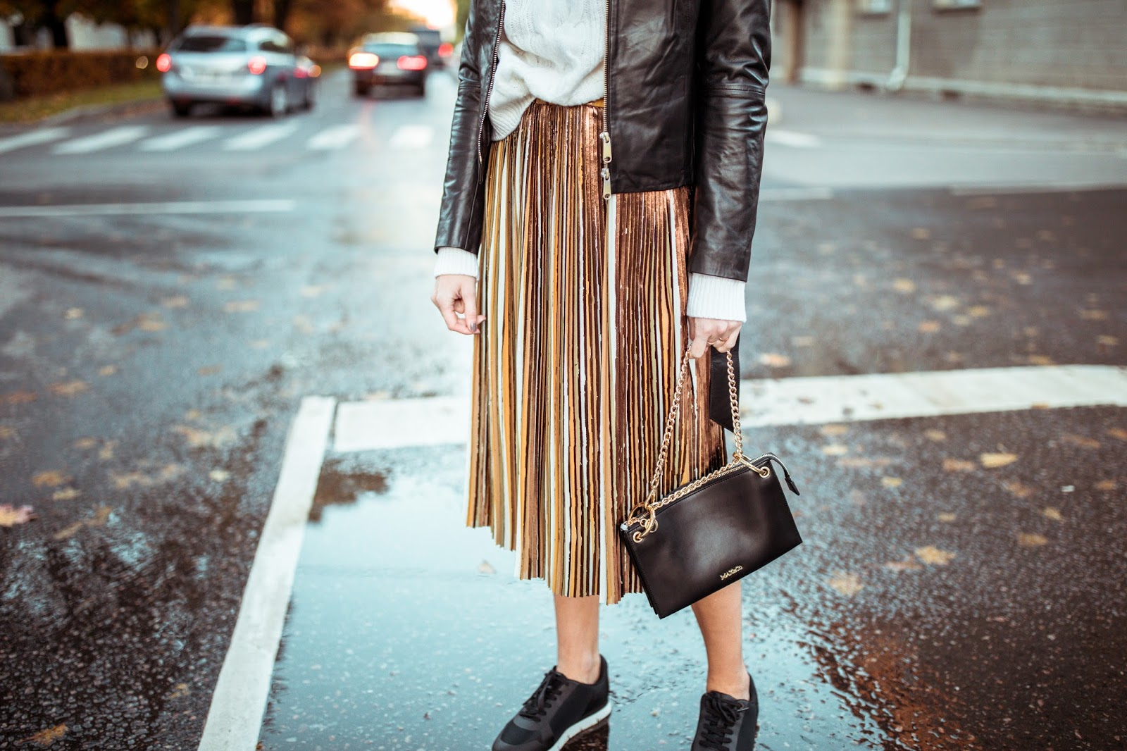 pleated skirt sneakers sweater