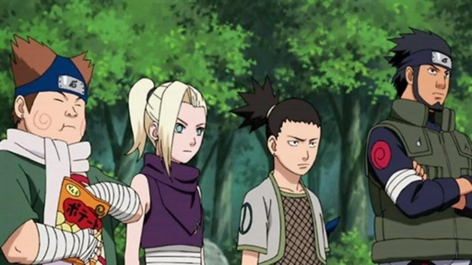 Equipo 10, Chouji, Ino, Shikamaru y Asuma
