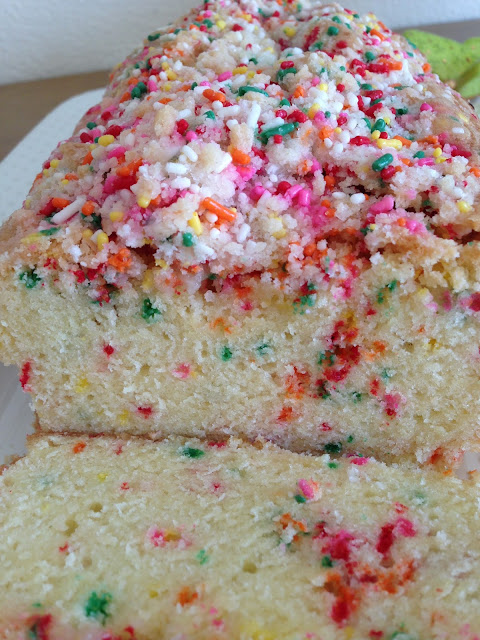 Rainbow Sprinkle Bread With Birthday Cake Crumb Topping