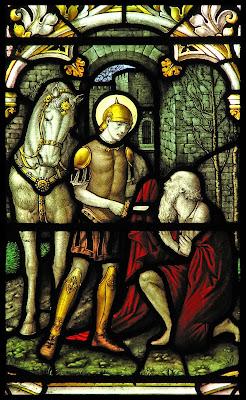 Imagem de São Martinho dando metade do seu manto ao podre, vitral, #1