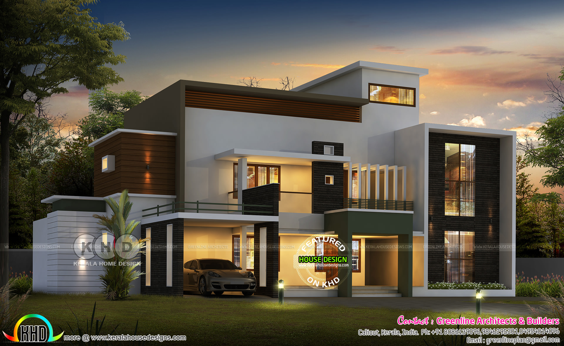 Contemporary style 3818 sq ft 5 bedroom home kerala home