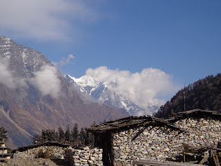 Manaslu village at the route of the Manaslu trekking Nepal