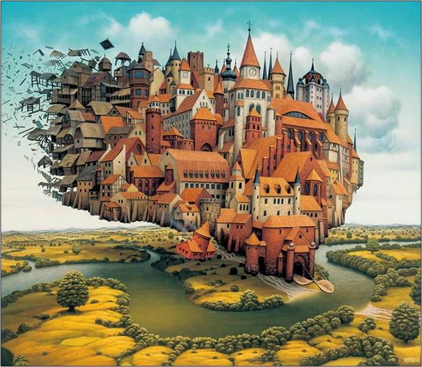 A Cidade Está Pousando - Jacek Yerka e seu surrealismo fantástico ~ Polonês