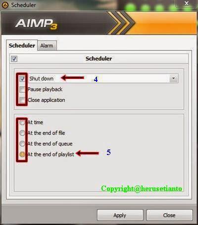 Cara Auto Shutdown Aimp3, cara shutdown otomatis pemutar musik, Cara mematikan otomatis pemutar mp3.