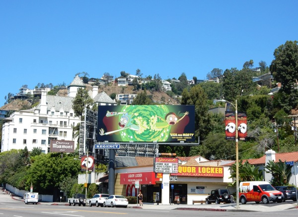 Rick and Morty season 2 billboard Sunset Strip