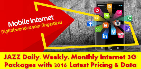 Jazz Daily Weekly Monthly Internet Packages Latest Prices Data