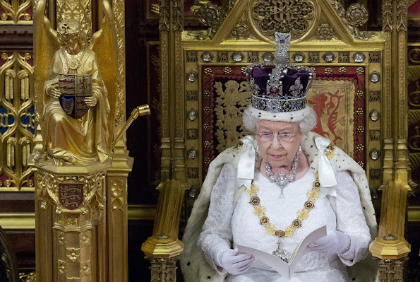 Queen Elizabeth II reads the Queen's Speech from the throne during State Opening of Parliament in the House of Lords at the Palace of Westminster. Kate Middleton