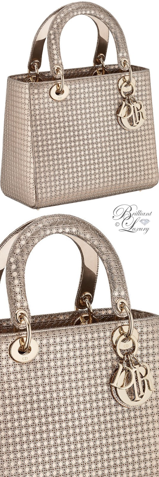 Brilliant Luxury ♦ Lady Dior bag in champagne metallic calfskin with micro-cannage motif