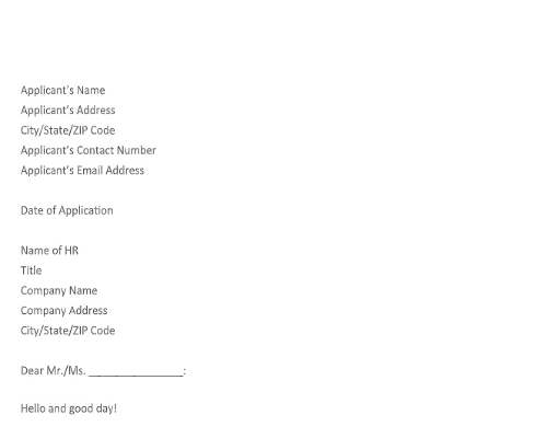 Graduate Job Application Letter