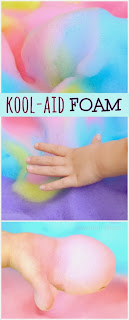 Kool-aid FOAM!  Gloriously scented, delightfully fluffy, and irresistibly squishy!  Oh, and the best part is that you can most likely go into your kitchen and make it right now!