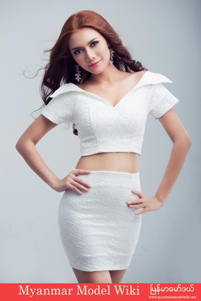 Myanmar Model May Wears White Lovely Fashion In Studio Photoshoot