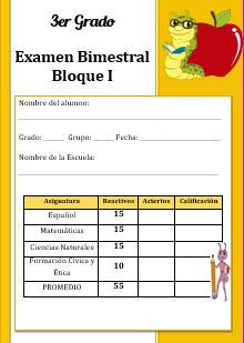 Examen Bloque 1 Tercer grado 2016-2017