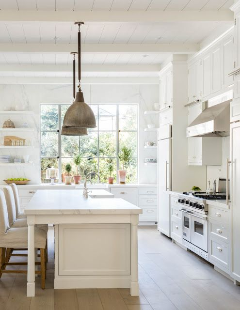inspiring and beautiful white modern farmhouse kitchen design via hello lovely studio - Modern Farmhouse Kitchen