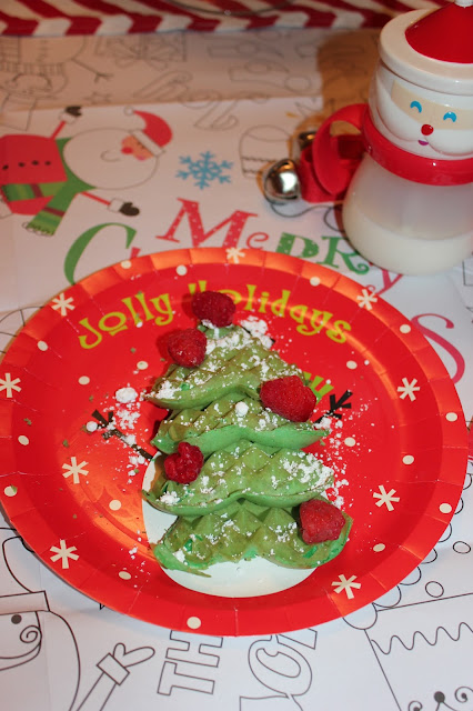 North Pole Breakfast- Christmas Tree Waffles
