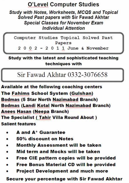 Intermediate 1 computing studies past papers