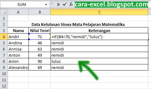Cara Menggunakan If Excel