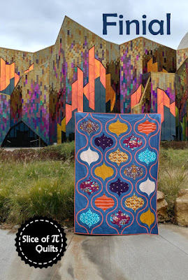 The Finial quilt pattern by Slice of Pi Quilts using Aura fabrics by Mister Domestic for Art Gallery Fabrics