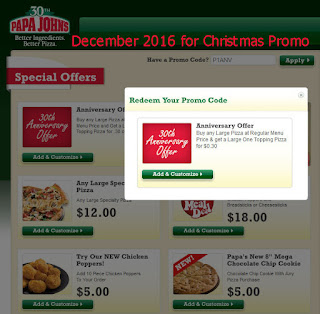 Papa Joes Pizza coupons december 2016