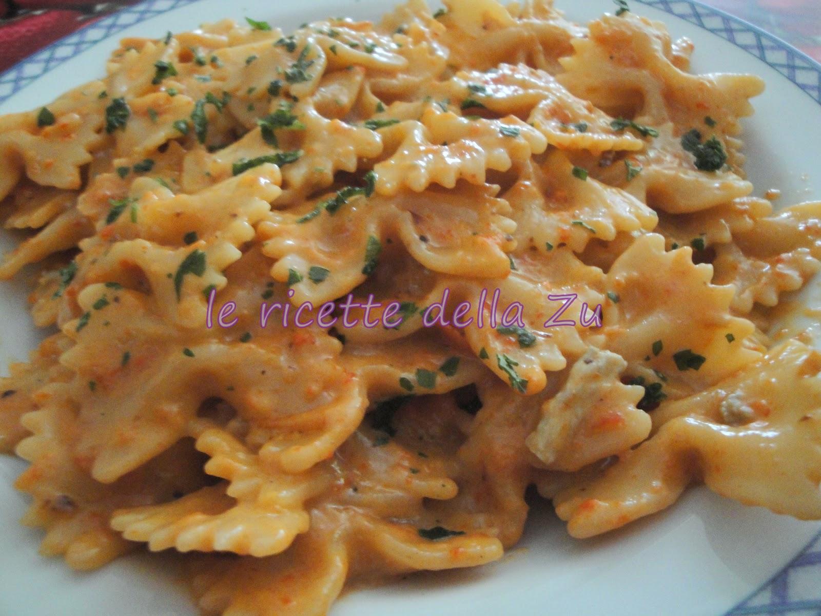 Le ricette della zu farfalle con crema di gorgonzola e for Ricette con la pasta
