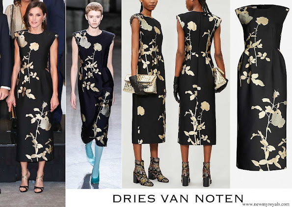 Queen Letizia wore Dries Van Noten sequin-embellished metallic floral-print jacquard midi dress