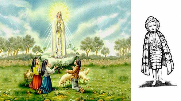 La virgen de fátima revelándose a los tres pastores