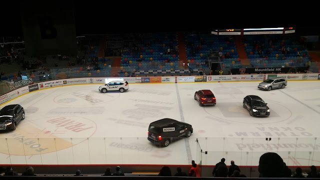 cars on ice rink, hradec kralove