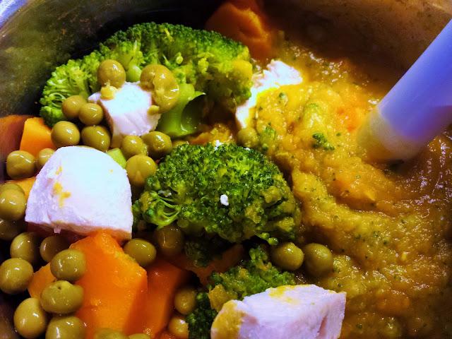 Můj fialový svět První příkrm  batáty, mrkev, brokolice, hrášek, krůtí, kuřecí recept