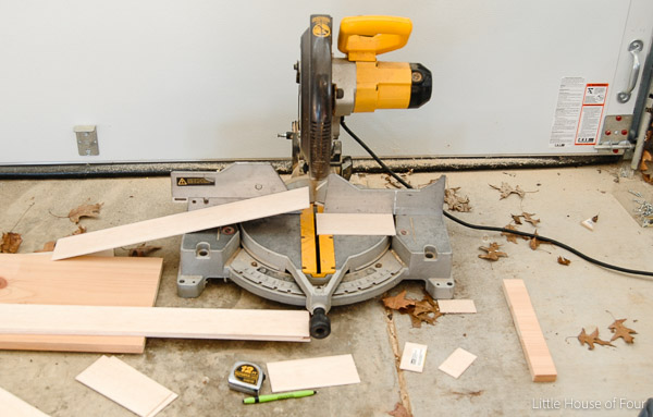 Use chop saw to cut wood down to size
