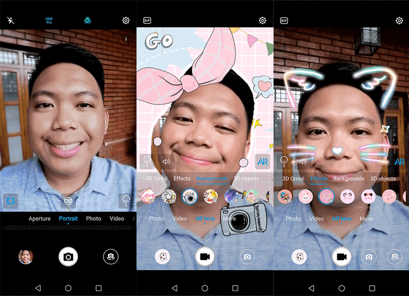Selfie camera UI and modes