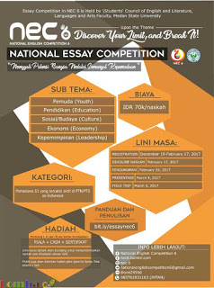 Lomba Menulis Esai National Engish Competition 6 by Universitas Negeri Medan