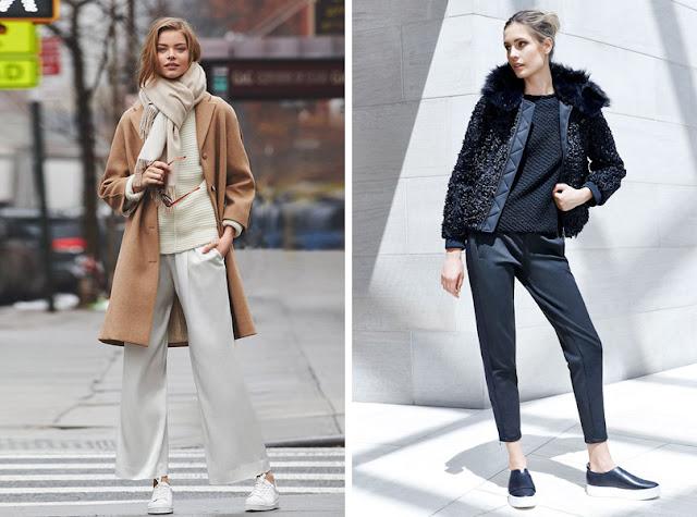 Сникеры и слипоны с пальто