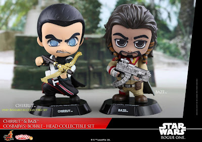 Star Wars Rogue One Chirrut Îmwe with Crossbow and Baze Malbus Cosbaby Mini Figure Set by Hot Toys